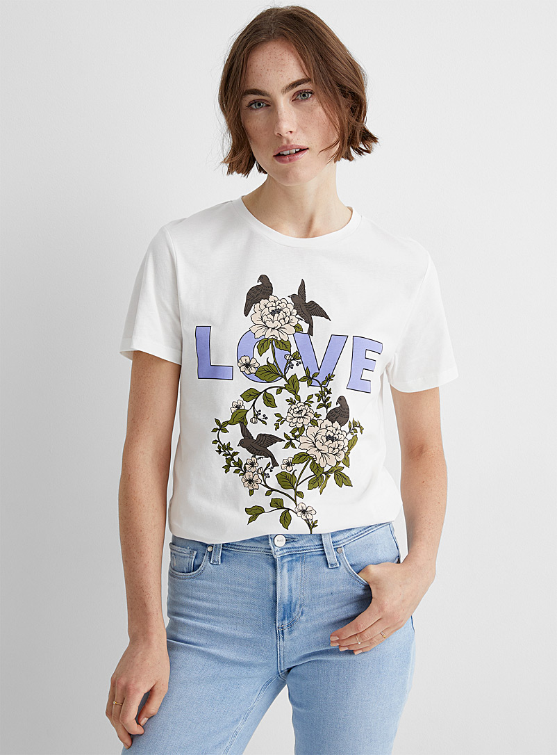 Soaked in Luxury Patterned White Love tee for women