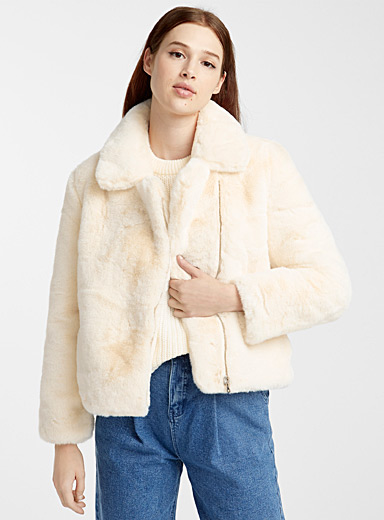 Faux-fur vanilla jacket