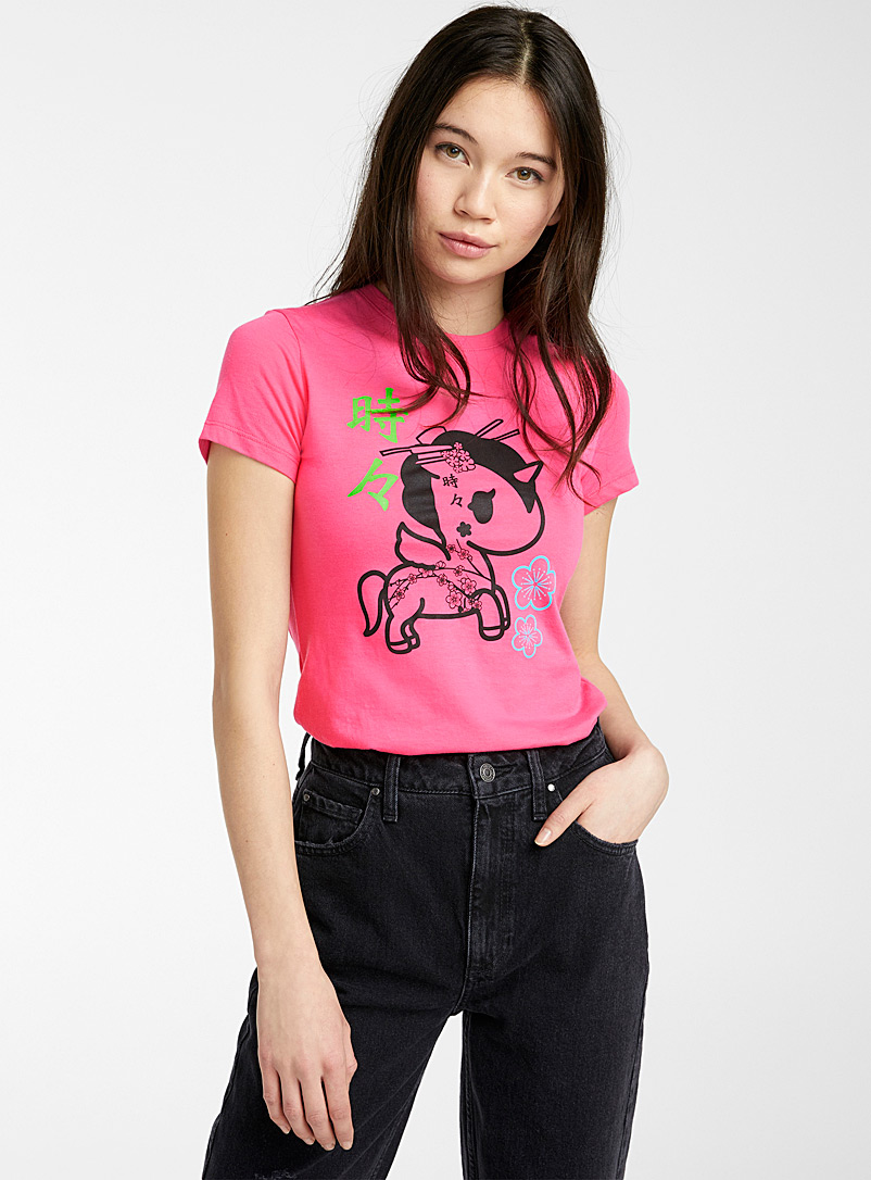 Tokidoki Dusky Pink Asian unicorn tee for women