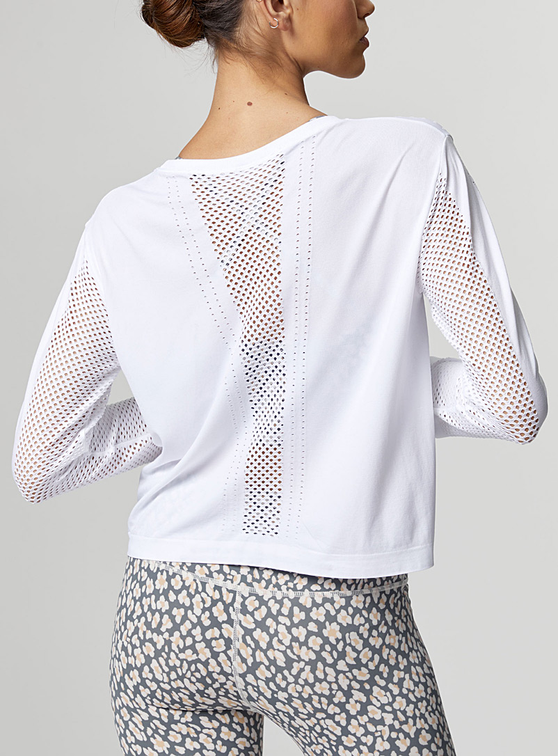 Varley Black Halldale micro-perforated top for women