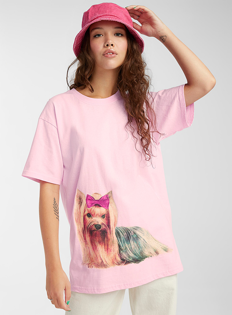 Daisy Street Pink Pink bow Yorkshire T-shirt for women