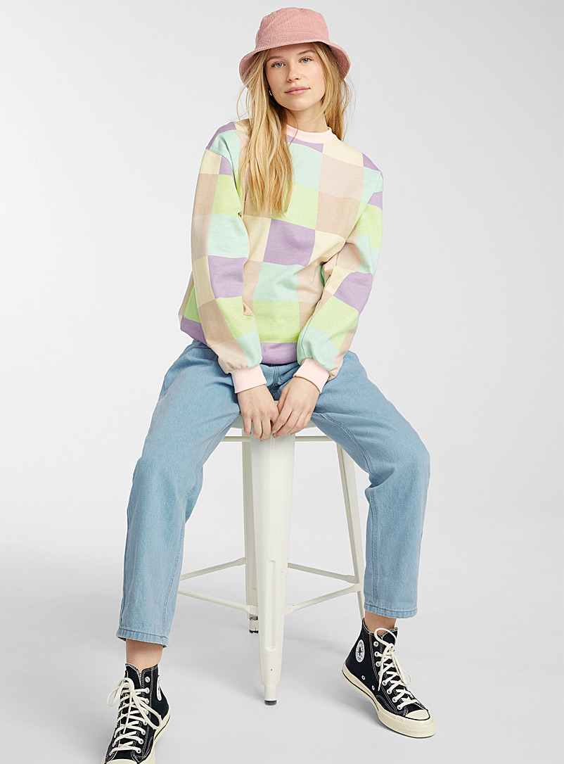 Daisy Street Assorted Pastel patchwork sweatshirt for women