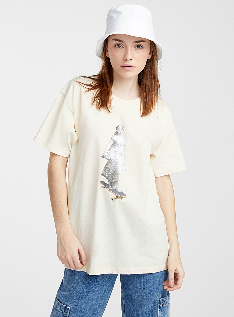 Daisy Street Ivory White Skater goddess tee for women