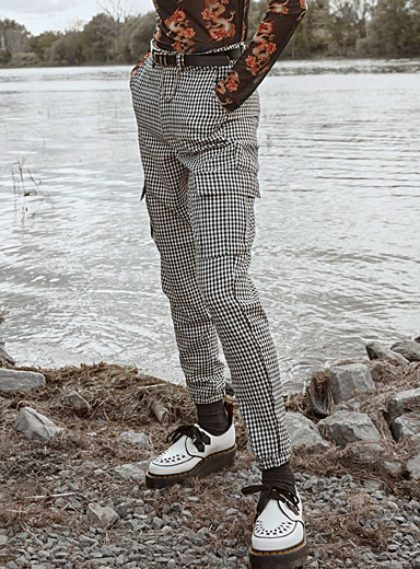 Gingham cargo joggers