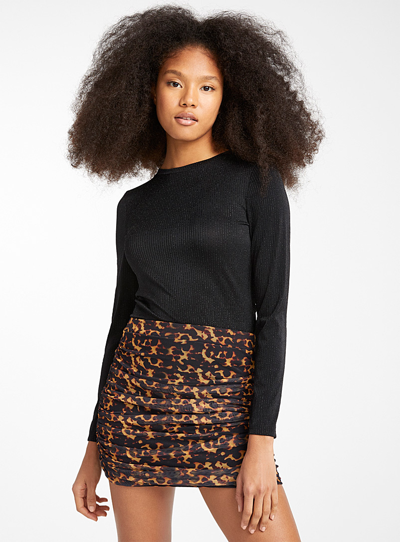 Pleated leopard mesh skirt - Short - Patterned brown