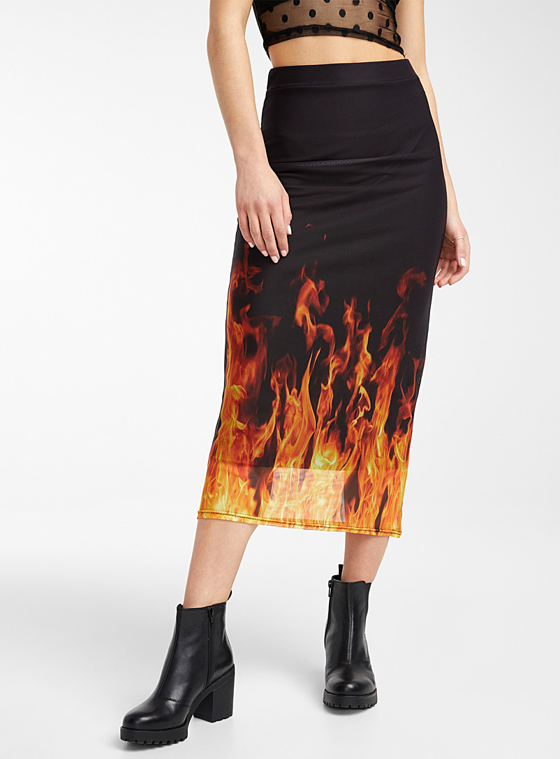 Daisy Street Patterned Black Printed fitted mesh skirt for women