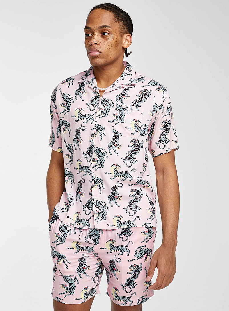 Super Massive Pink Grey tiger camp shirt for men