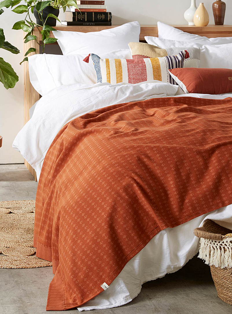 Jacquard knit throw - Noujica - Orange