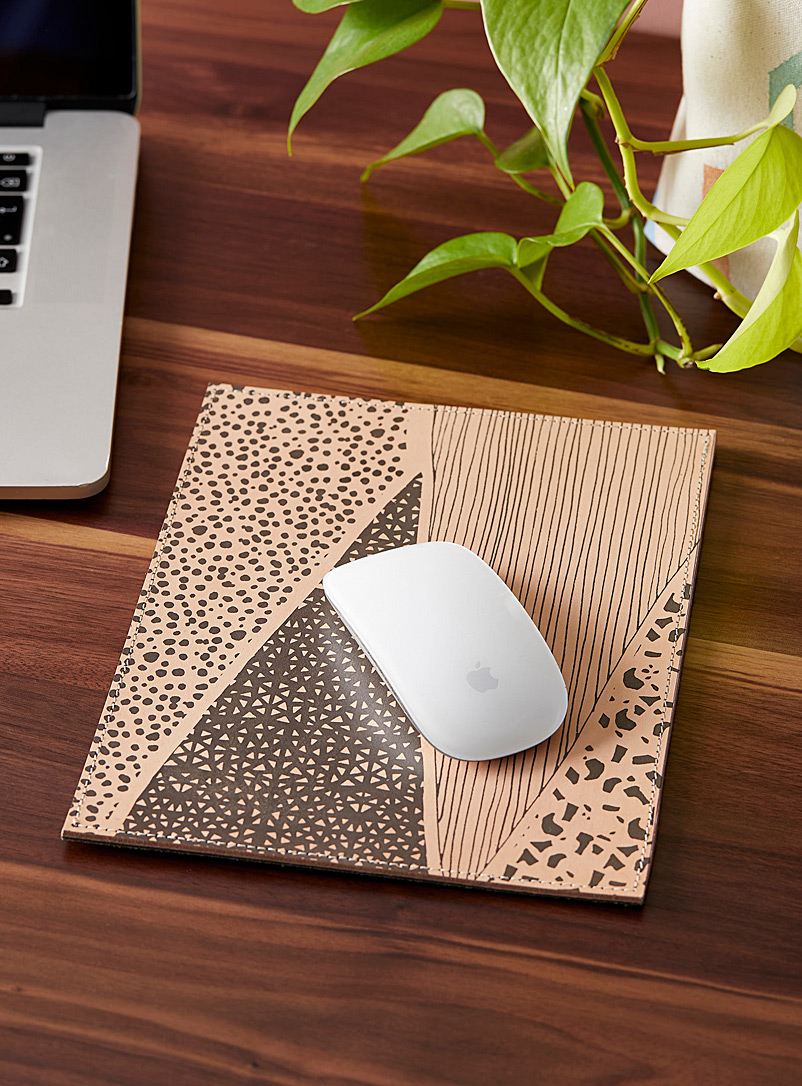 Noujica Black Abstract landscape leather mouse pad