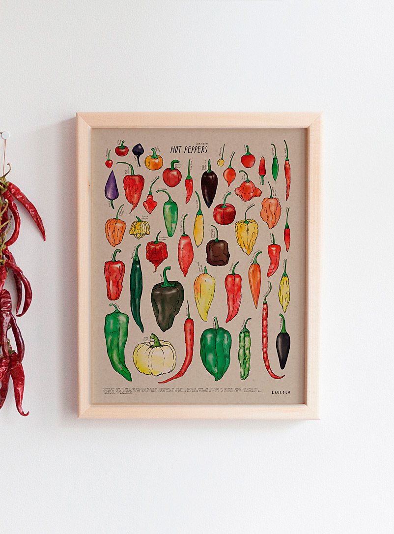 Laucolo Kraft - English Hot peppers art print