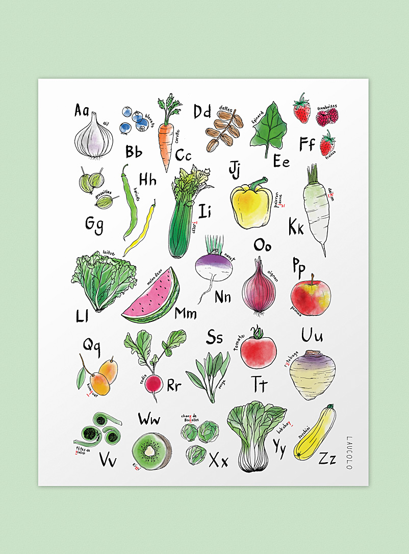 Laucolo White Fruits & veggies alphabet art print