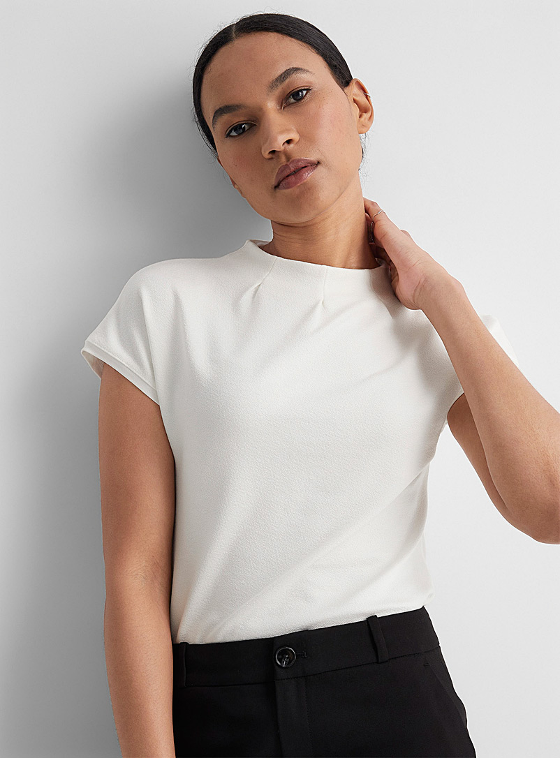 Contemporaine Ivory White Pleated funnel-neck tee for women