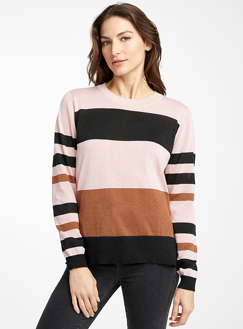 Shimmery block sweater - Sweaters - Pink