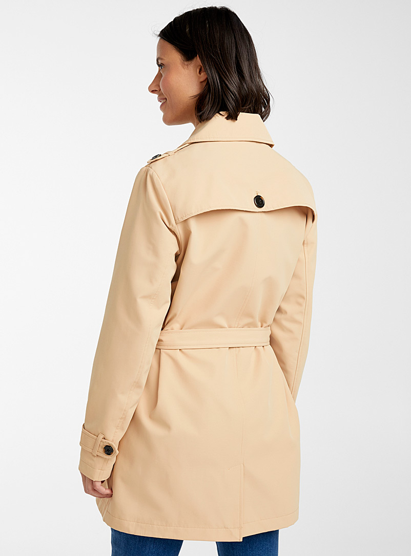 Contemporaine Toast Cropped belted trench coat for women