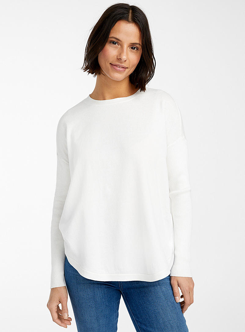 Contemporaine Ivory White Ribbed sleeves rounded sweater for women