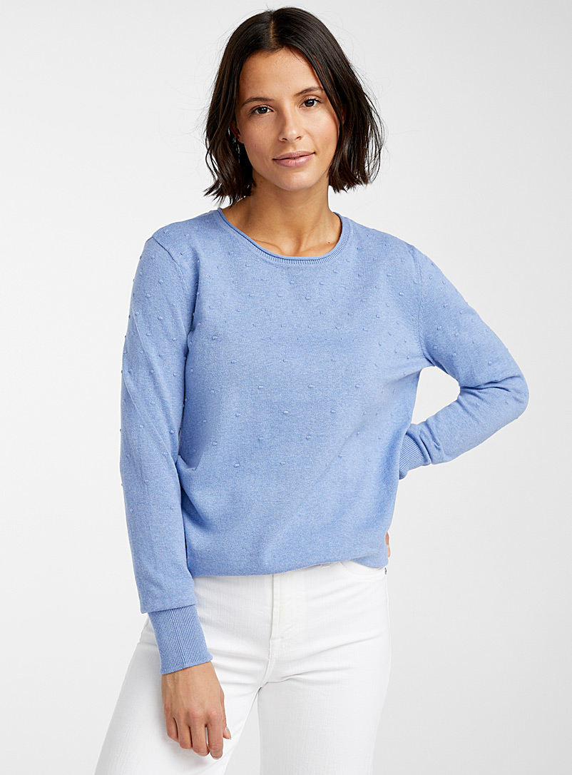 Contemporaine Blue Textured dot sweater for women