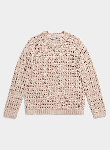 Contemporaine Cream Beige Openwork beige knit sweater for women