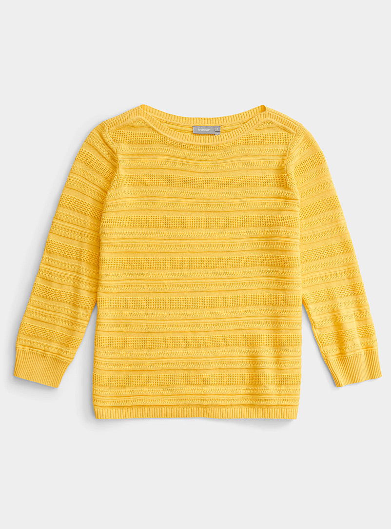 Contemporaine Medium Yellow Textured stripe sweater for women