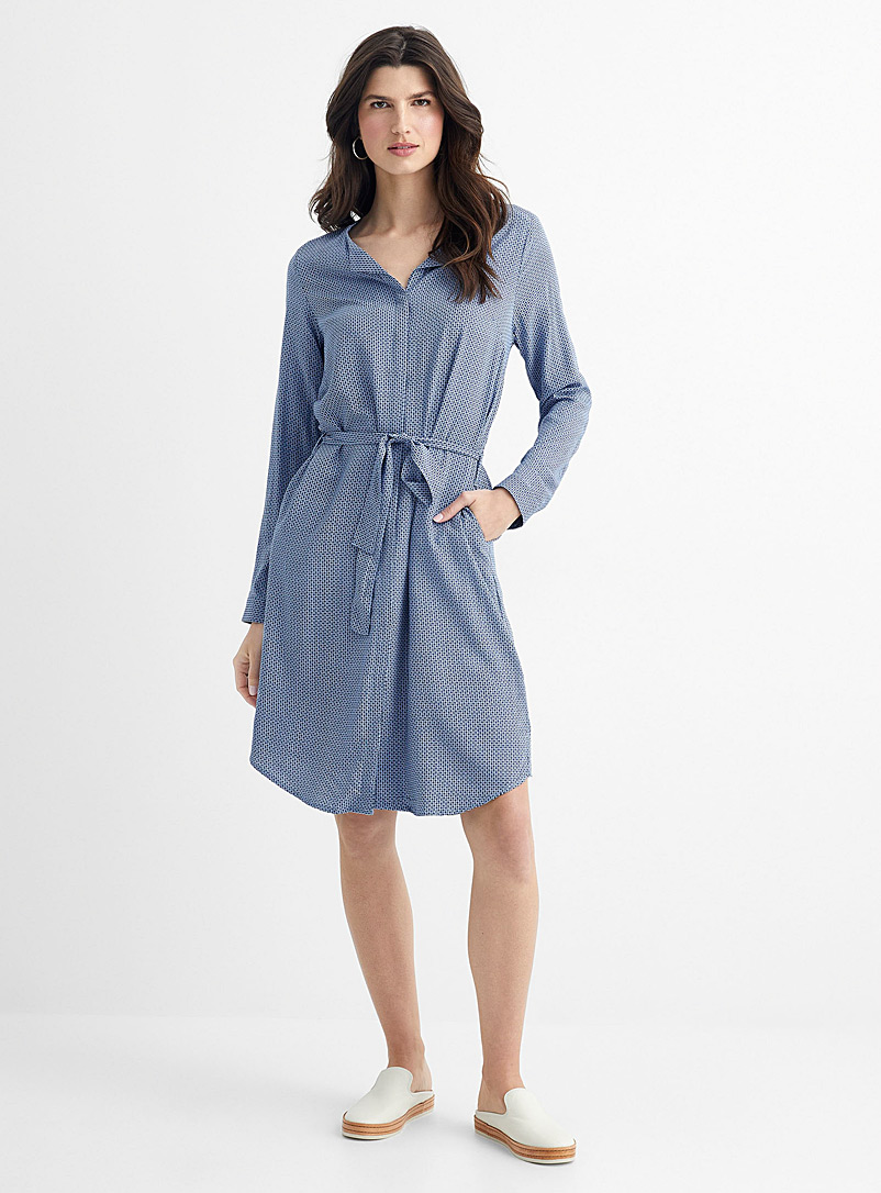 Contemporaine Blue Floral mosaic belted shirtdress for women