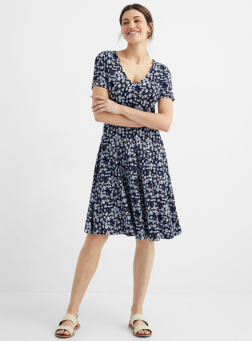 Contemporaine Patterned Blue Secret garden jersey dress for women