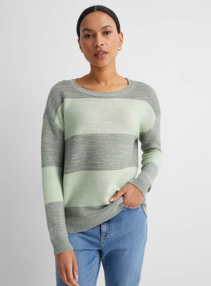 Heathered block stripe sweater