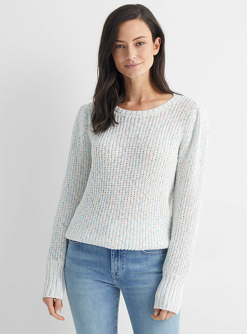 Pastel heather openwork sweater