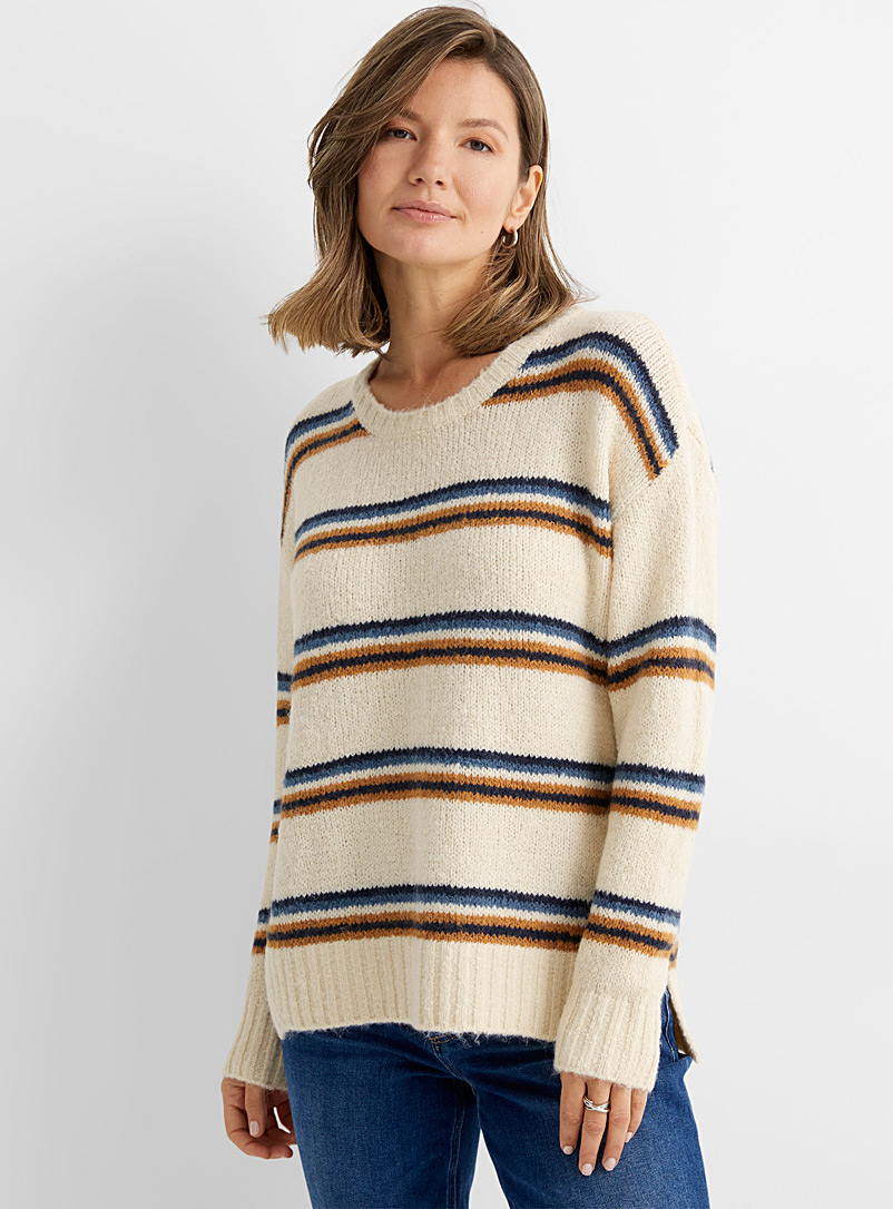 Contemporaine Ivory White Rich stripes loose sweater for women