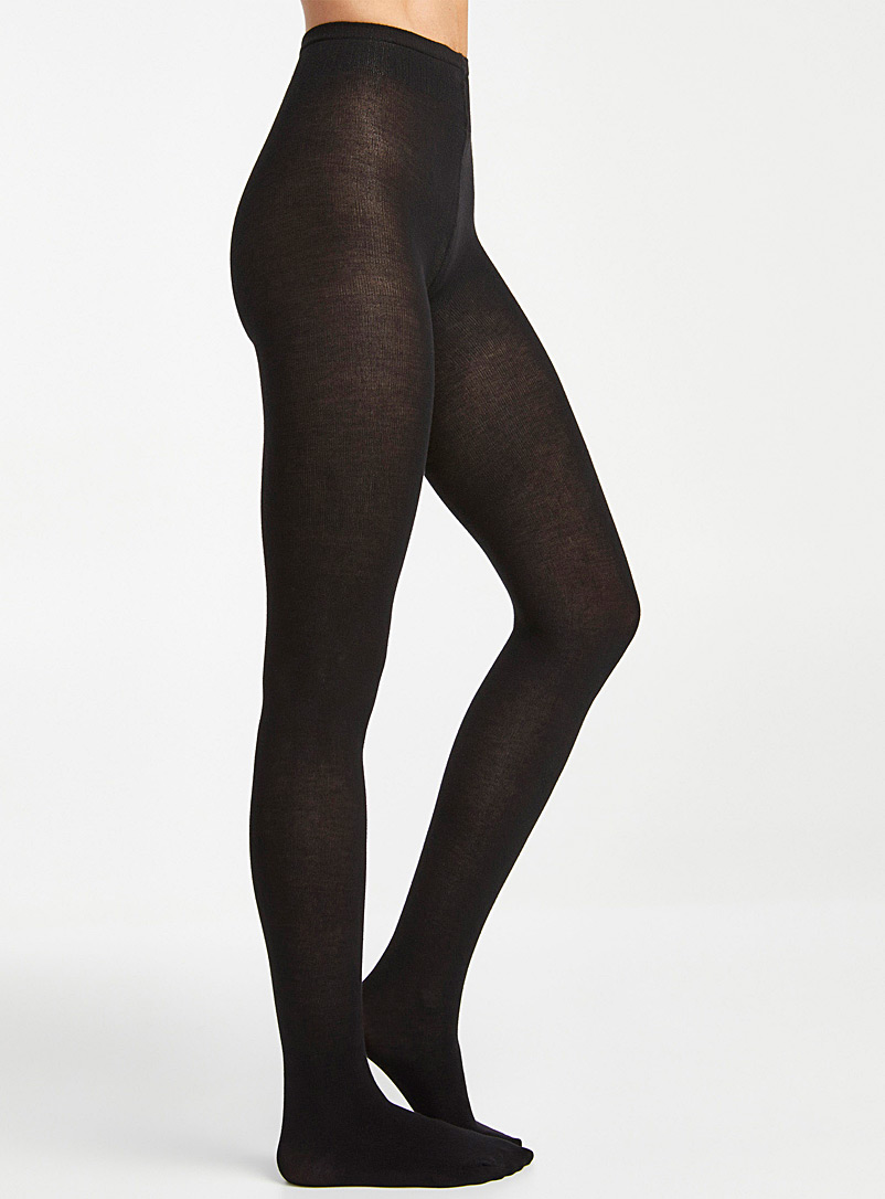 Simons Black Solid colour organic cotton tights for women