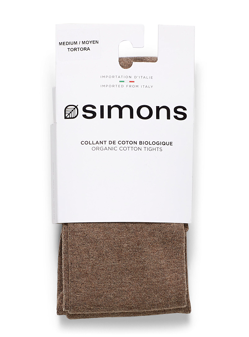 Solid colour organic cotton tights - Tights - Light Brown
