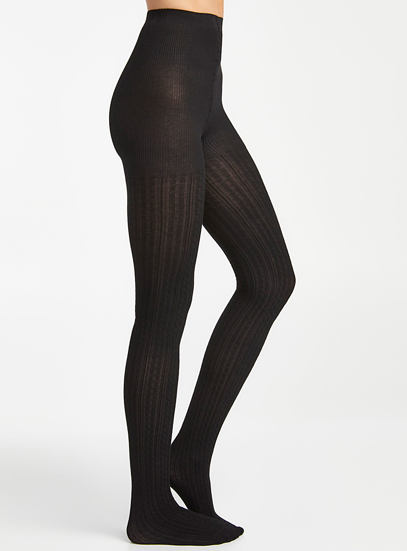 Simons Black Twisted knit tights for women