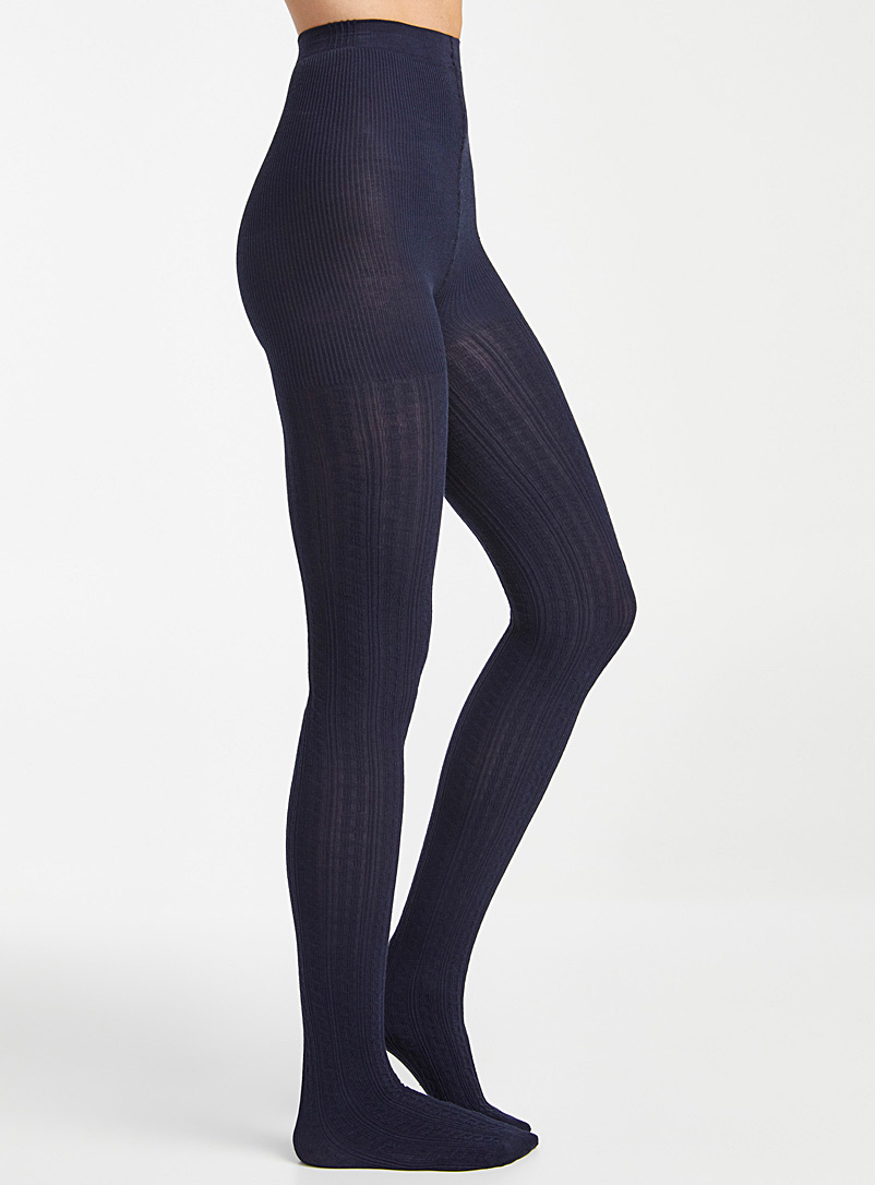 Twisted knit tights