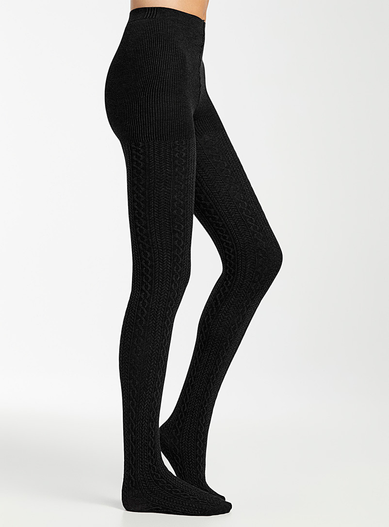 Simons Black Organic cotton twisted tights for women