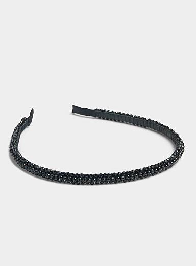 Simons Black Iridescent stone headband for women