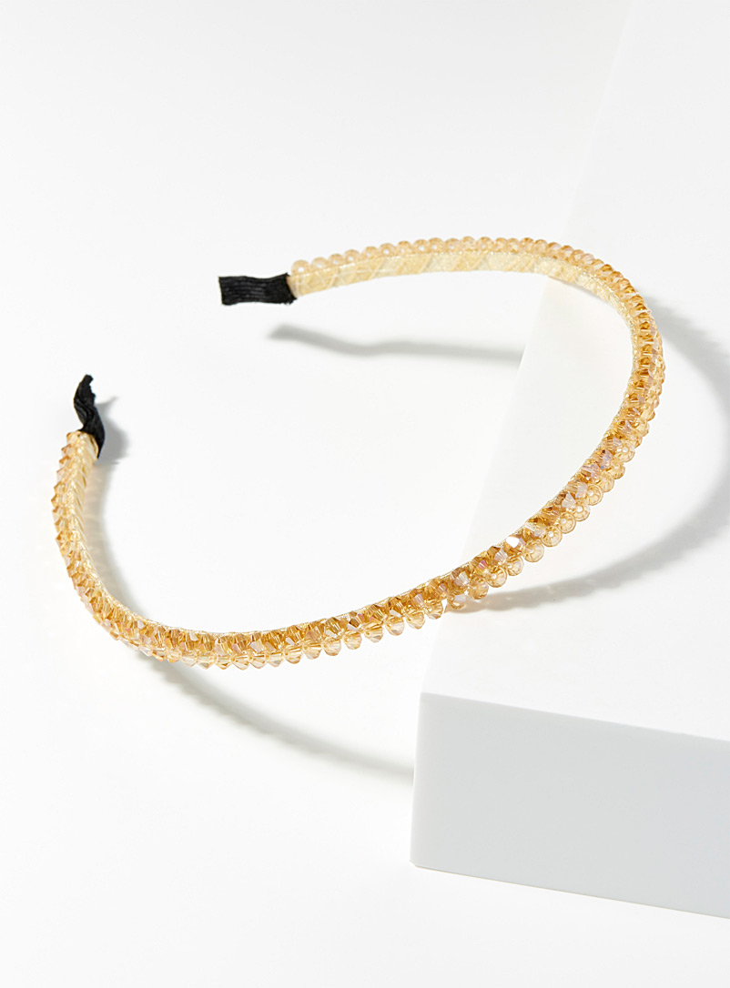 Simons Golden Yellow Iridescent stone headband for women