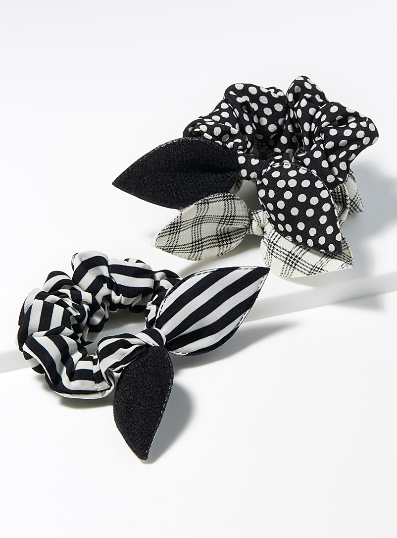 Textured bow scrunchies  Set of 3 - Scrunchies - Black