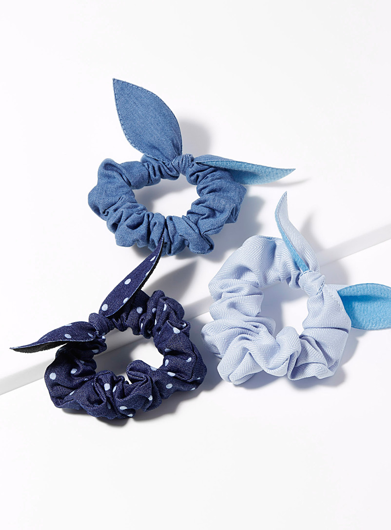 Textured bow scrunchies  Set of 3 - Scrunchies - Blue