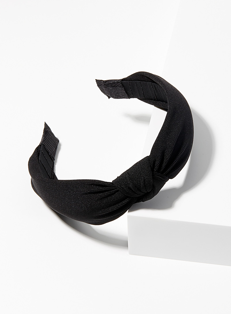 Simons Black Knotted twill headband for women