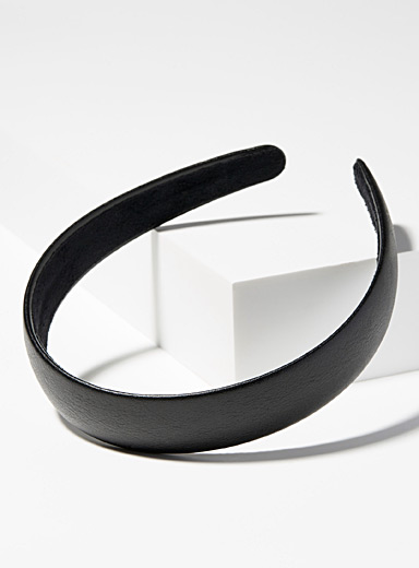 Simons Black Faux-leather headband for women