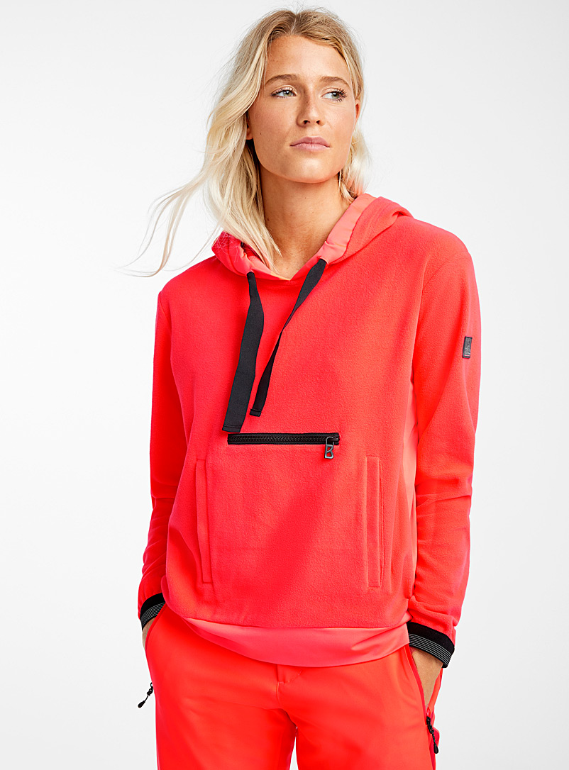 Polar fleece hooded neon sweatshirt - Skiing - Coral