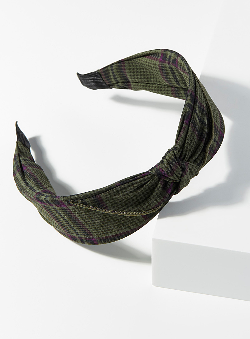 Simons Patterned Green Dark check headband for women