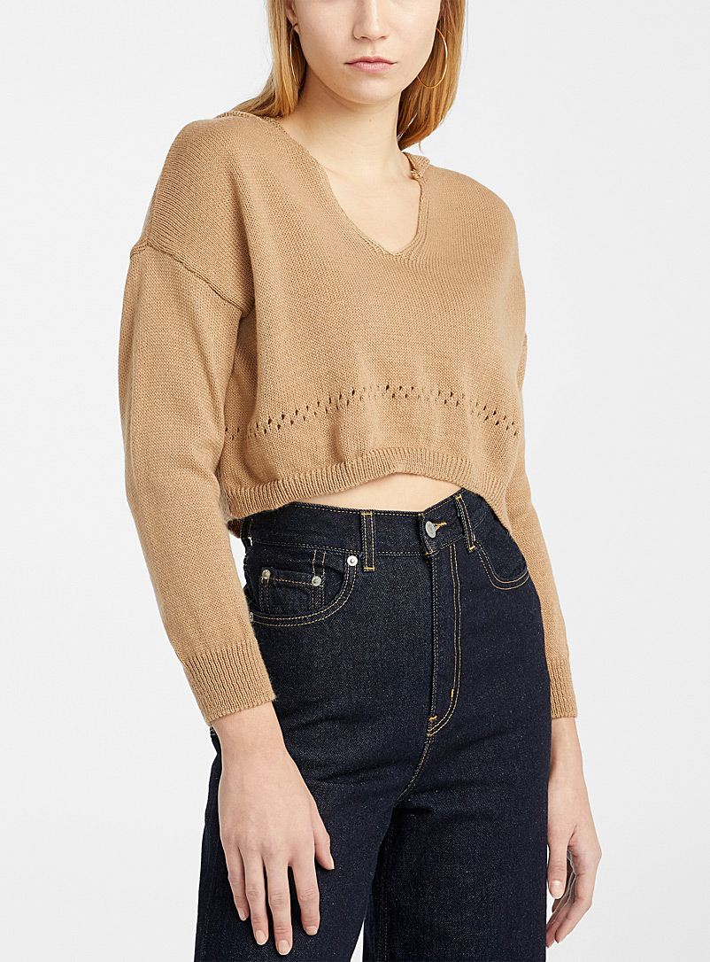 Twik Honey Pointelle band cropped hooded sweater for women