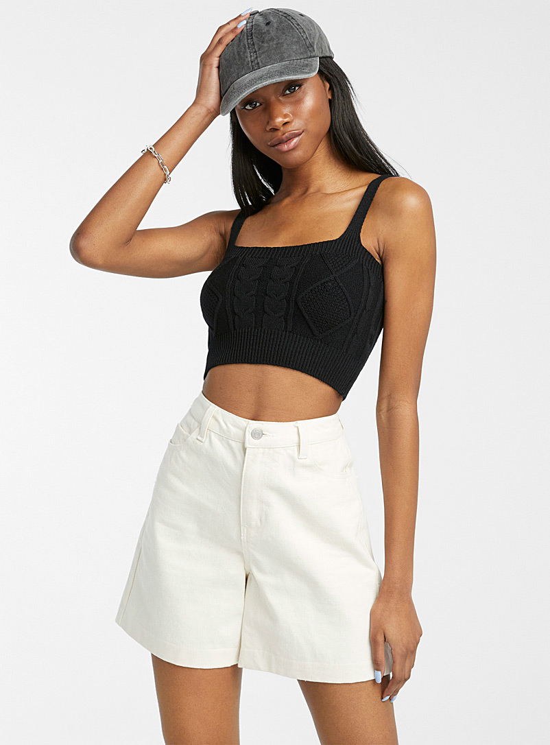 Twik Black Cable and diamond ultra-cropped cami for women