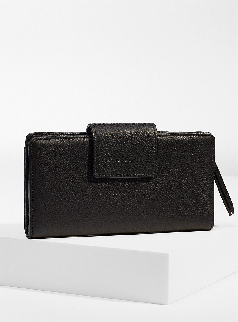 STATUS ANXIETY. Black Ruins leather wallet for women
