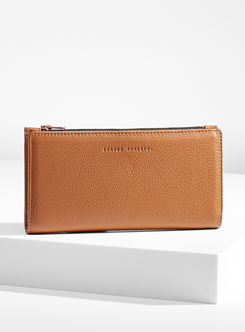 STATUS ANXIETY. Fawn In The Beginning slim leather wallet for women