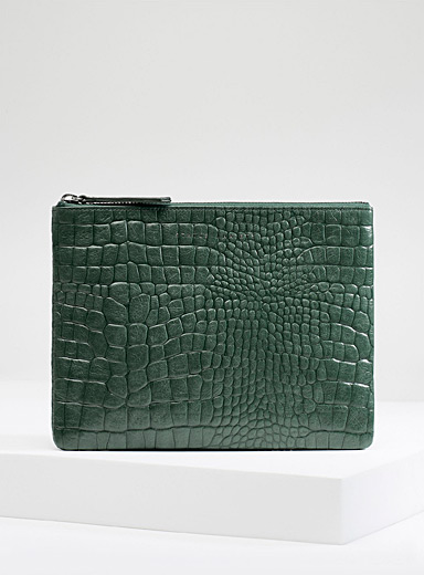 Fake It faux-croc clutch