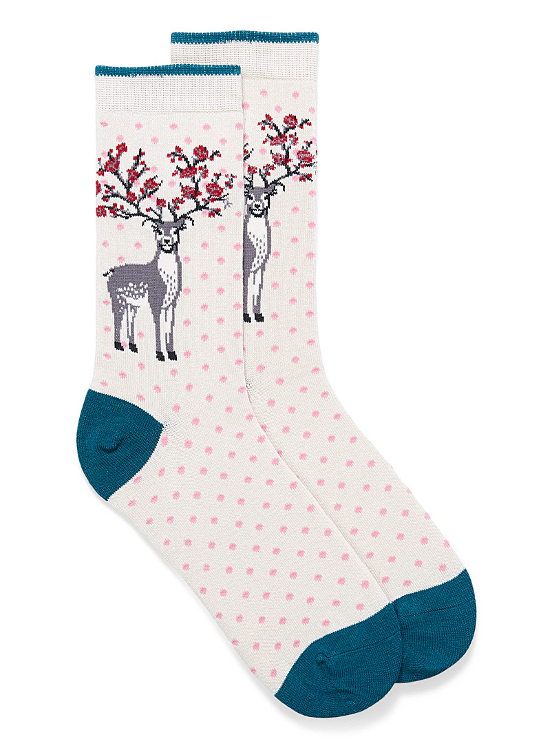 Thought Ivory White Floral reindeer socks for women