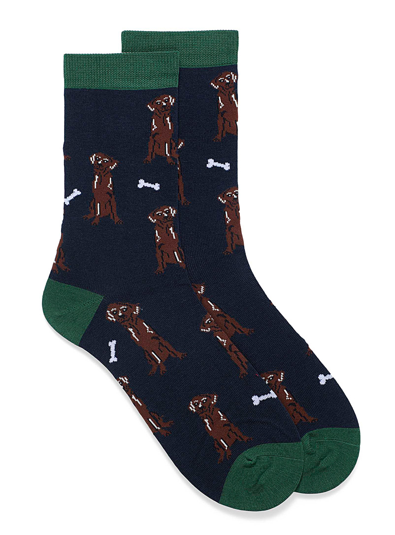 Thought Patterned Blue Lyman canine socks for men