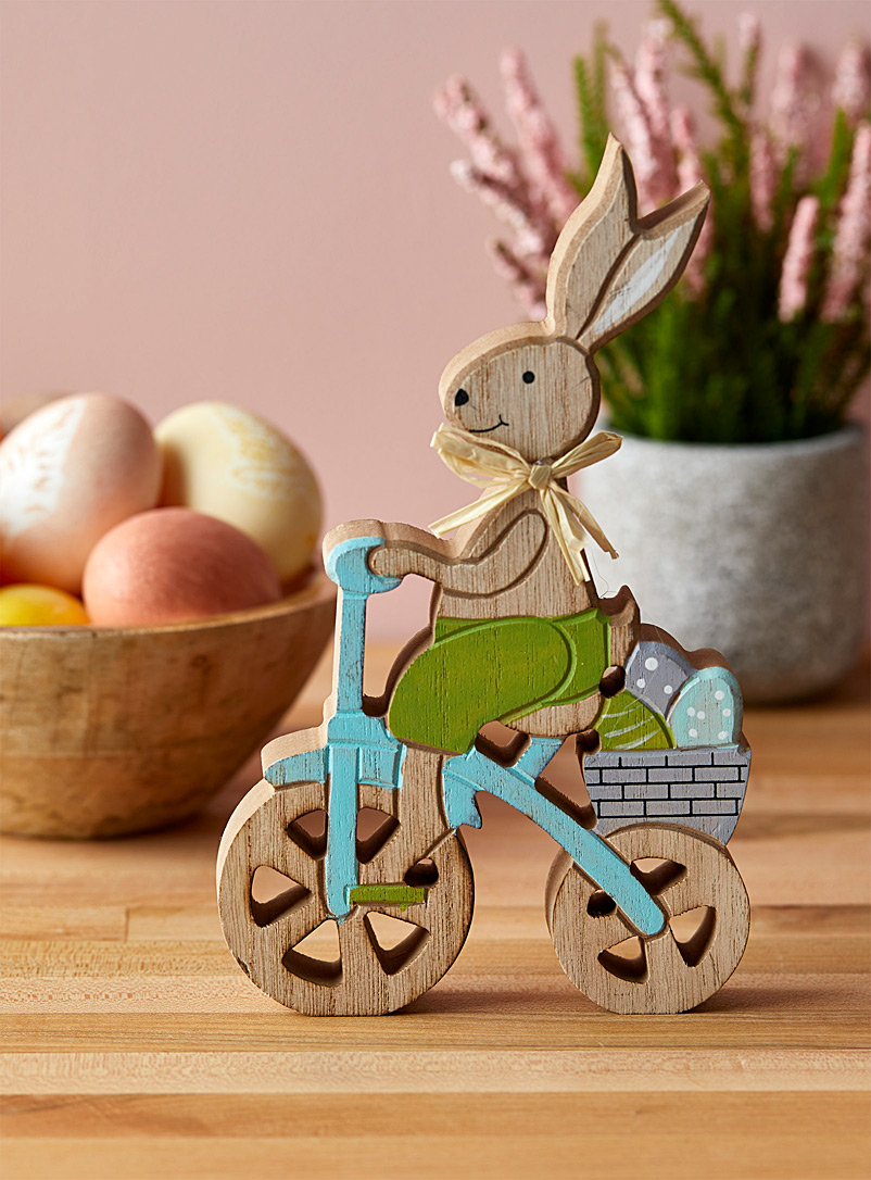 Simons Maison Assorted Cyclist rabbit wooden decoration