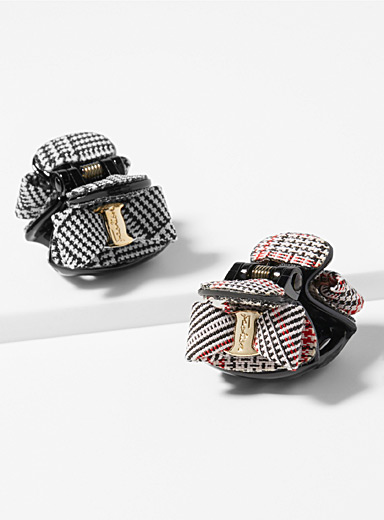 Patterned bow clips  Set of 2