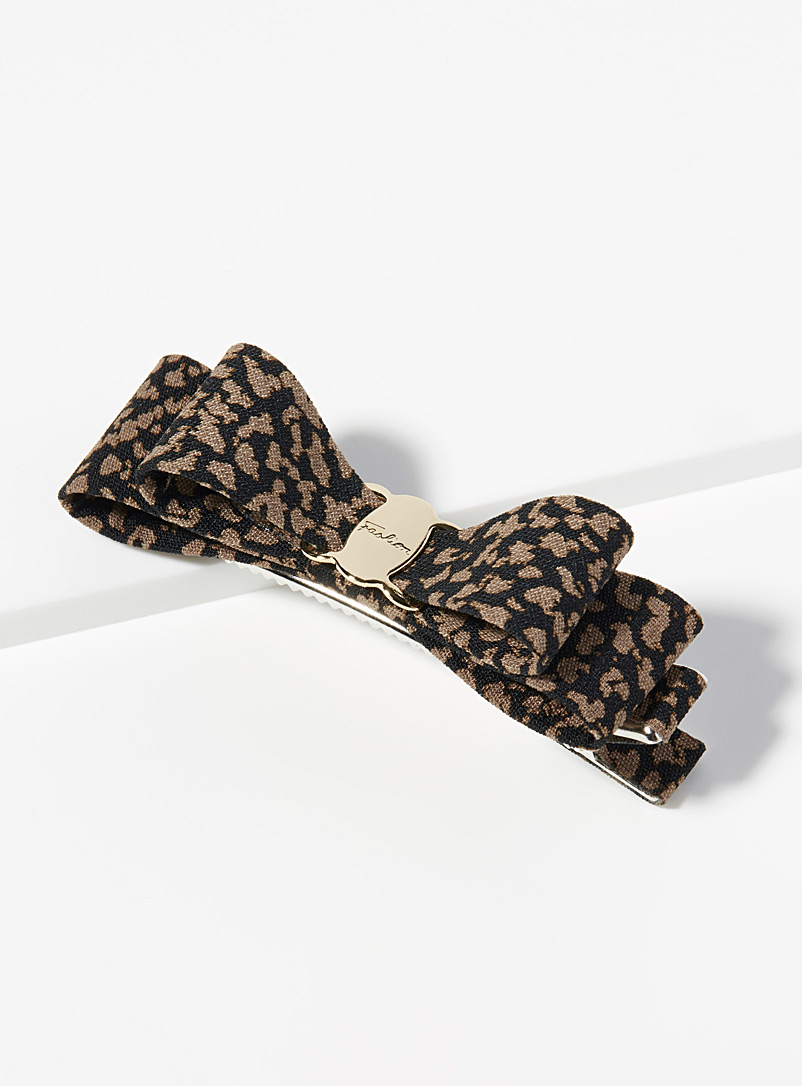 Leopard bow clip - Barrettes and Clips